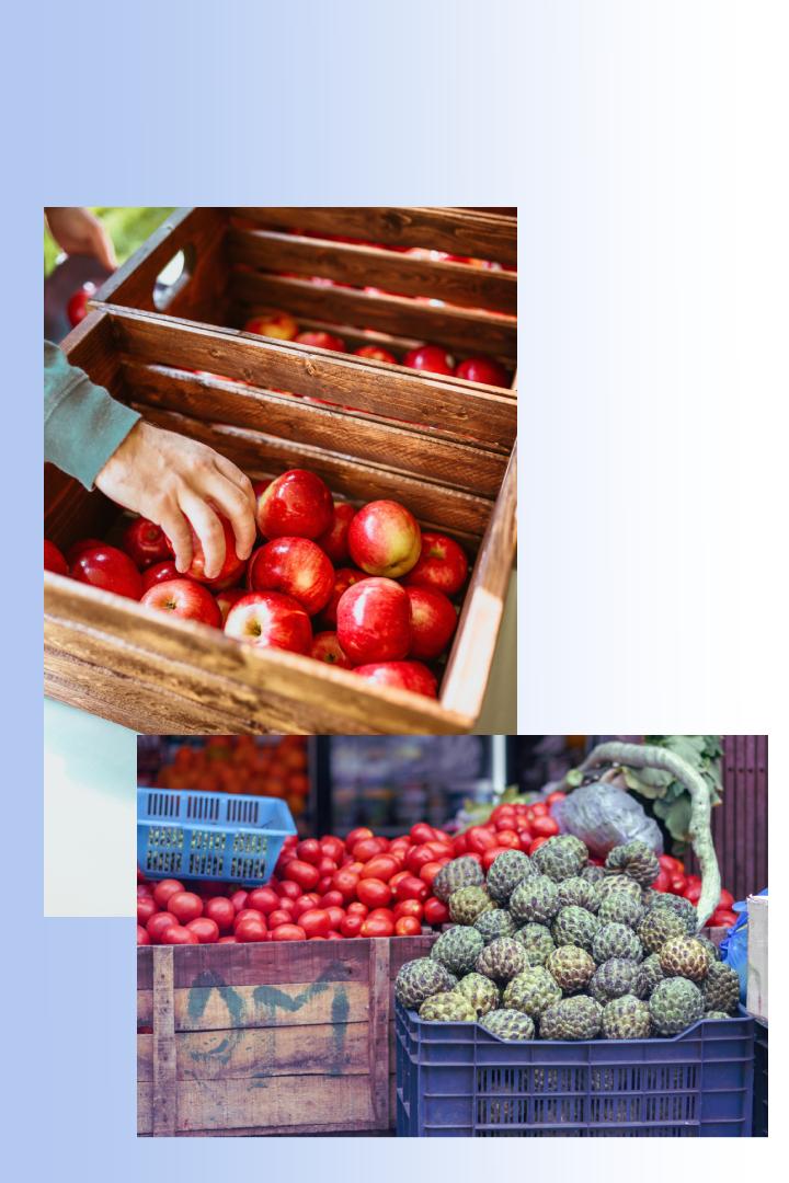 Agf emballage groente en fruit in kratten